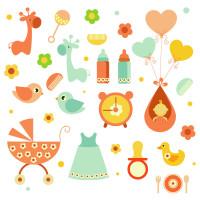可爱卡通玩具婴儿用品图标矢量素材下载