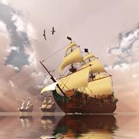 海上古典巨大帆船高清图片下载