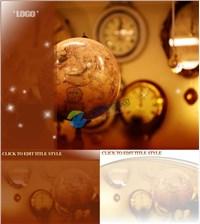 古典地球仪时钟背景ppt模板免费下载