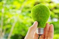 手中的绿色环保灯泡高清图片下载