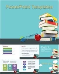 课本书籍苹果教育教学ppt模板免费下载