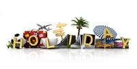 假期度假行李箱飞机椰子树素材高清图片下载