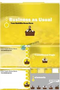 黄色商务日常工作ppt模板免费下载