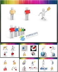 28张3D小人电子邮件ppt素材免费下载