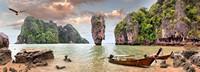 小岛仙境独木舟小船高清图片下载