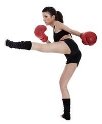 打拳击的美丽时尚少女高清图片下载