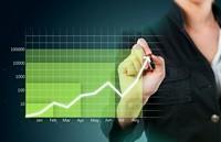 商务女子与数据走势图表高清图片下载