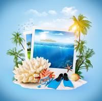 清澈海洋照片与珊瑚沙滩高清图片下载