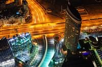 空中俯瞰繁华城市夜景高清图片下载