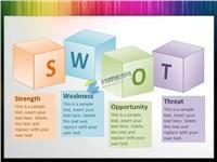 SWOT背景3D盒子文本框ppt素材免费下载