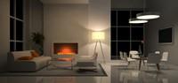 现代简洁家居晚上壁炉高清图片下载