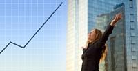 办公大楼与商务女子高清图片下载