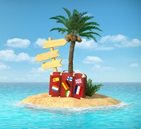 创意海中小岛与旅行箱高清图片下载