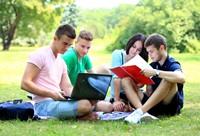 草地上学习讨论大学生高清图片下载