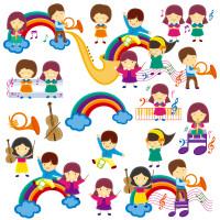 可爱儿童彩虹图标矢量素材下载