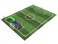三维立体足球场与球员高清图片下载
