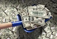 创意铲子上的百元美钞高清图片下载