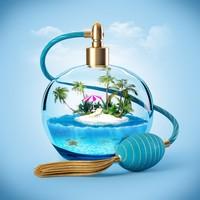 创意香水瓶中的海中小岛高清图片下载