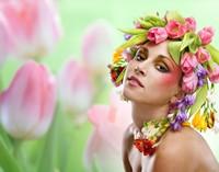 戴着鲜花帽子的美丽女子高清图片下载