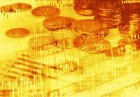 数据走势曲线图表与硬币背景高清图片下载