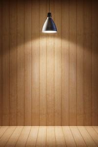 木头墙壁上的电灯高清图片下载